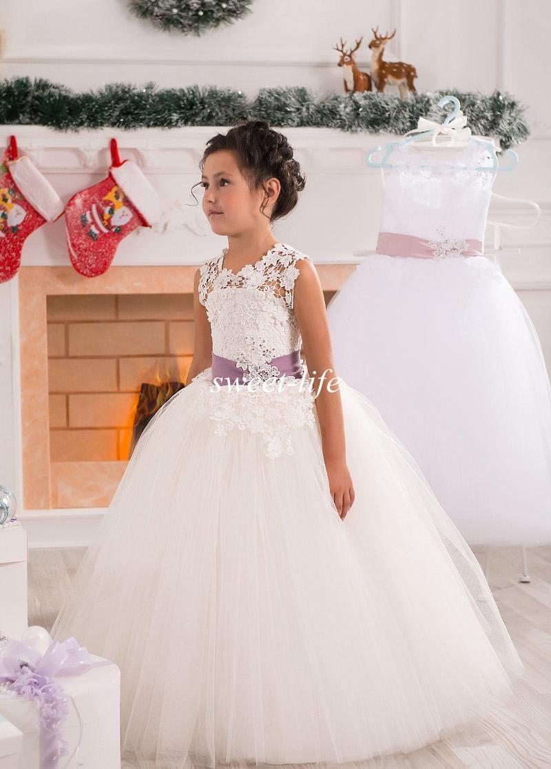 Beautiful Ball Gown Flower Girl Dresses For Wedding 2015 Lace Sheer ...
