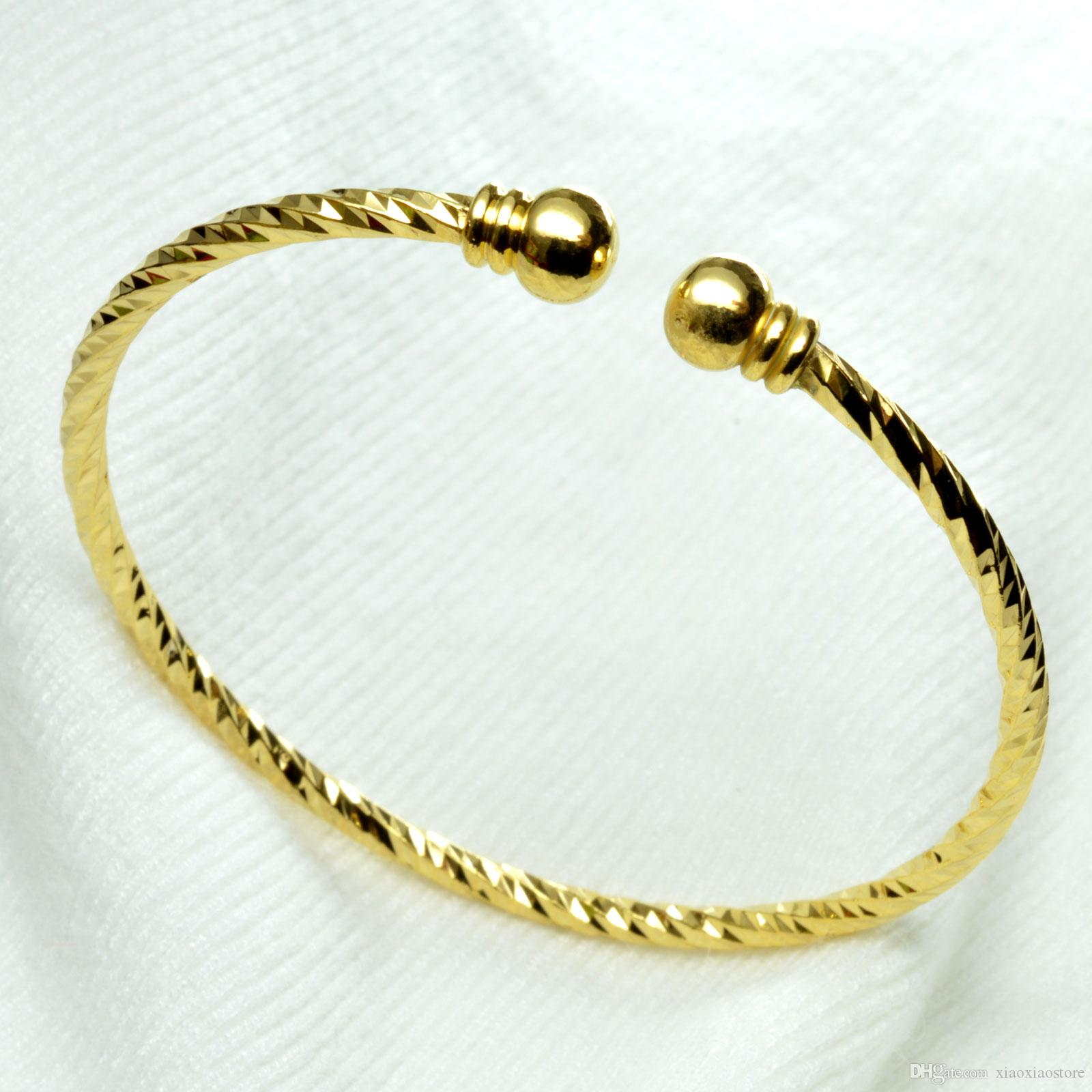 G122 18k oro GF filagree griego clave damas mujeres sólido diseño brazalete pulsera