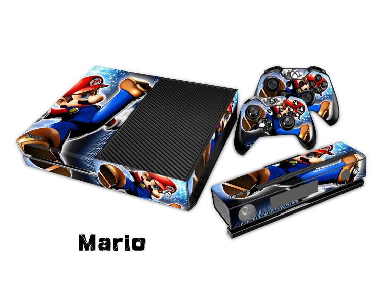 Mario Protective Decal Skin/Stickers For xbox one Console+ 2 Controllers + Kinect Skin