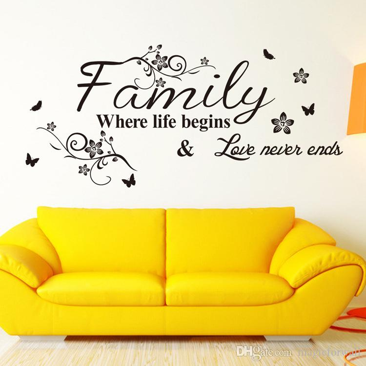 Black Flower Family Where Life Begins Love Never Ends Wall Quote Decal Sticker English Saying Flower Rattan Art Mural Living Room Wall Decor