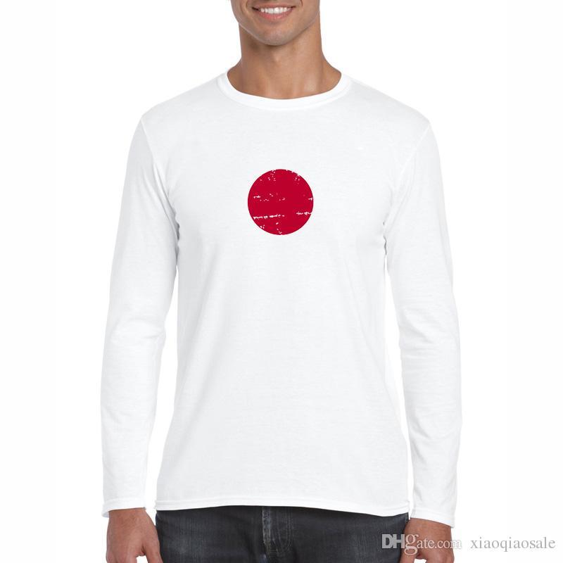 Bandera de Japón Estilo nostálgico Diseño Hombres Camisetas Moda Nuevo Fitness Camisetas de manga larga Homme Swag Hip Hop TopsTees