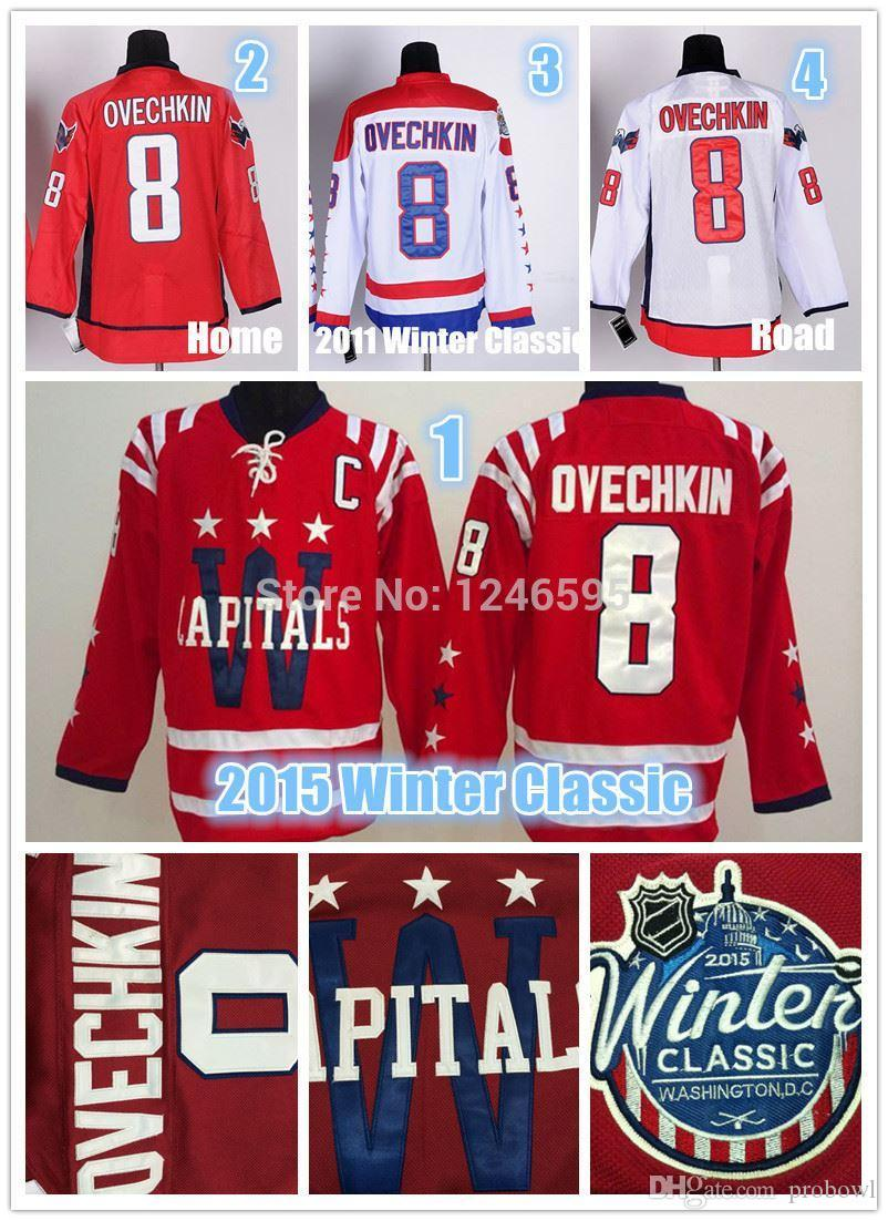 low priced 8b63c 3c4e5 #8 Alex Ovechkin Jersey 2015 Winter Classic Washington Hockey Jerseys Home  Red White Alexander Ovechkin Hockey Jersey C Patch