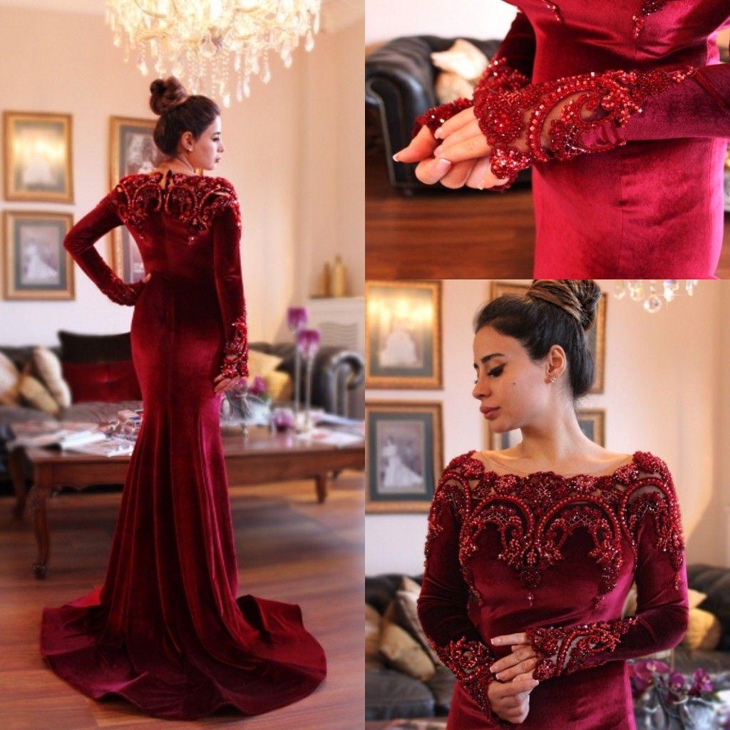 2018 Arabic Islamic Abaya In Dubai Muslim Evening Dresses Scoop Neck Dark Red  Velvet Lace Crystal Beads Long Sleeve Mermaid Party Prom Gowns Elegant  Evening ... 5dcf99b8c451