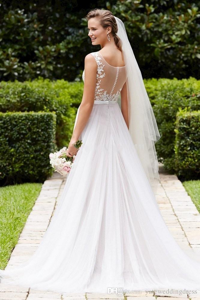 Vestidos de casamento Plus Size A Linha Tripulação Decote Sheer Voltar Botão Coberto Apliques de Noiva Vestidos de Casamento Vestido de Primavera Chiffon Ruffles