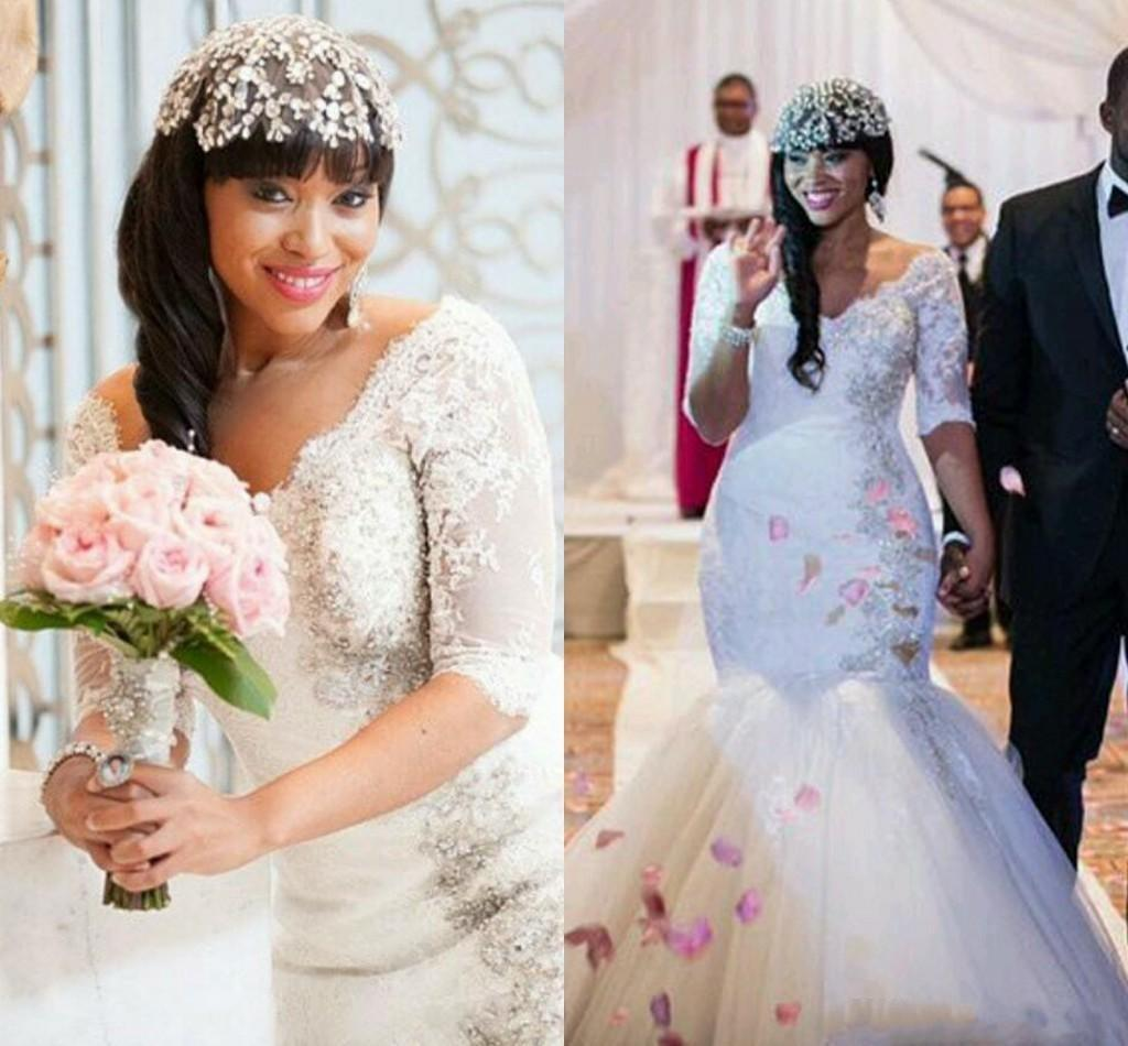Luxury Dubai Mermaid Wedding Dresses 2016 V Neck Lace Applique Beads Bridal Gowns Long Sleeves Plus Size Vestidos Muslim