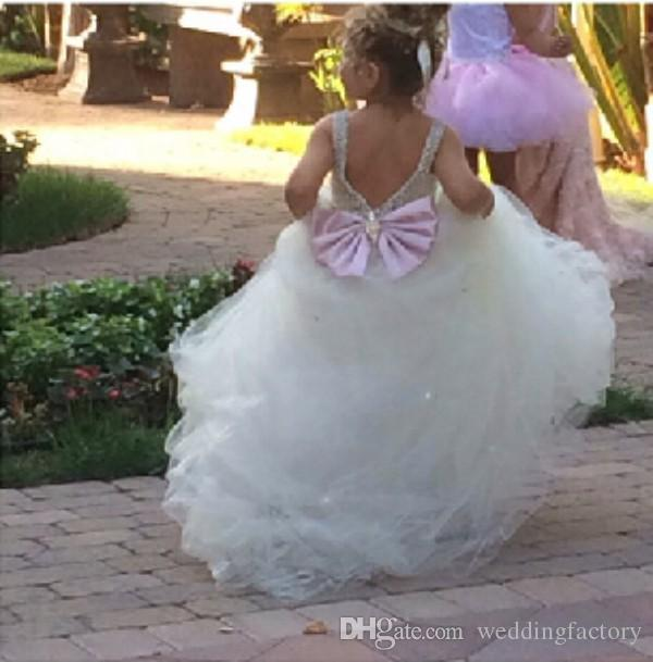 Princess Flowergirl Dresses Ball Gown Flower Girls Wedding Party Gowns Soft Tulle Crystals Bow V Back Custom Made Fairy Sweep Train