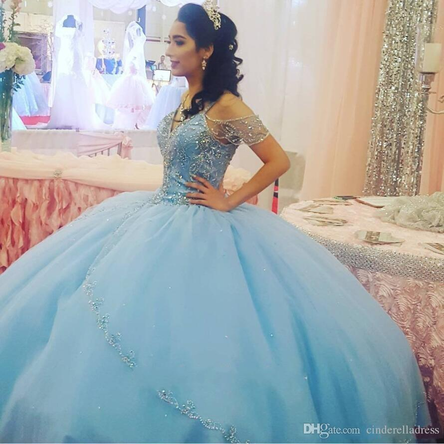 2018 Luxury Light Sky Blue Ball Gown Quinceanera Dresses Cap Sleeves Spaghetti Beading Crystal Princess Prom Party Dress For Sweet 16 Girls