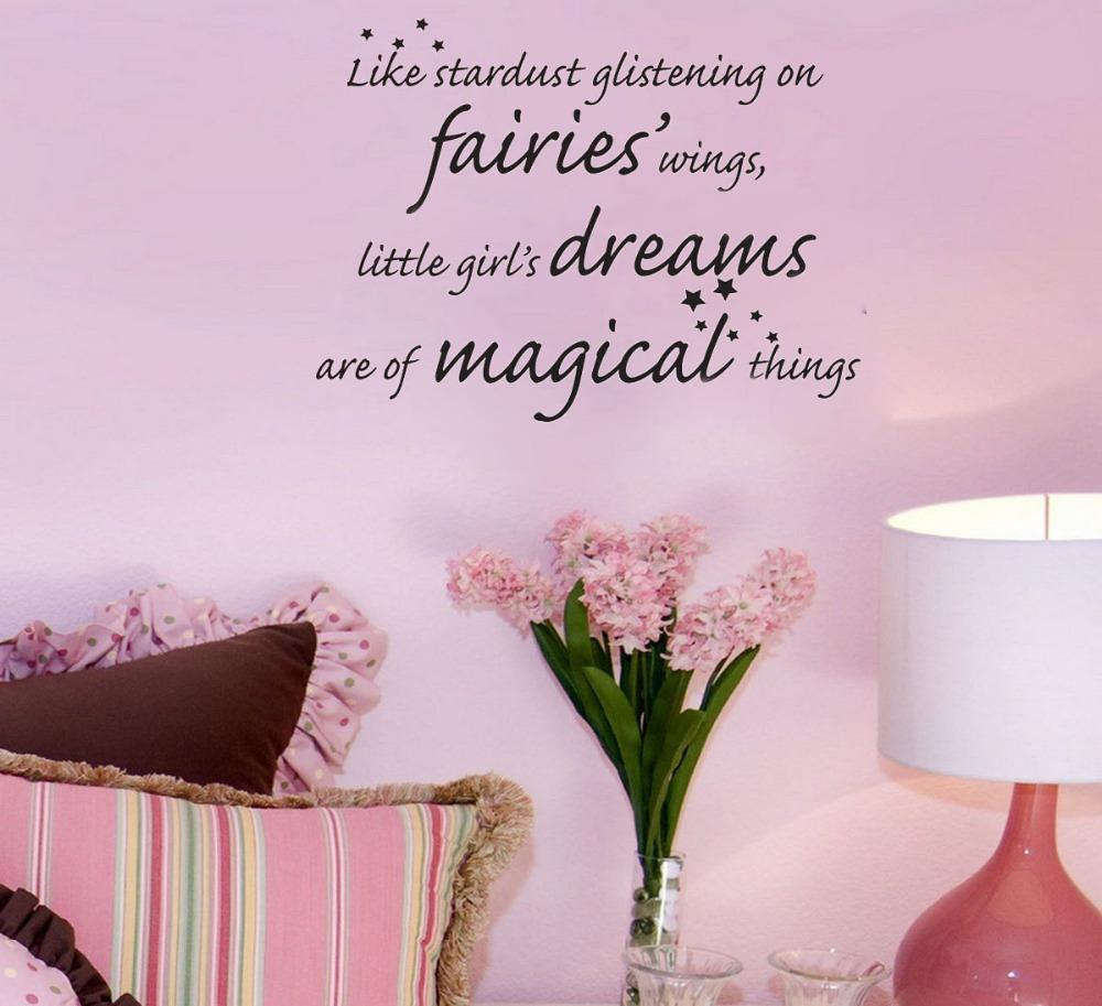 Like stardust glistening on fairies wings little girls dreams like stardust glistening on fairies wings little girls dreams are of magical things wall decals vinyl stickers home decor kid wall stickers kids bedroom amipublicfo Gallery