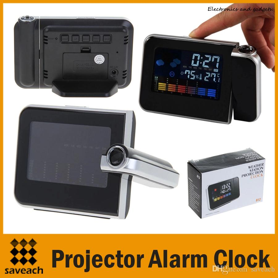 High Quality Multi Function Decorative Elegant Style Led: 2019 Multi Function Digital LCD Screen LED Projector Alarm