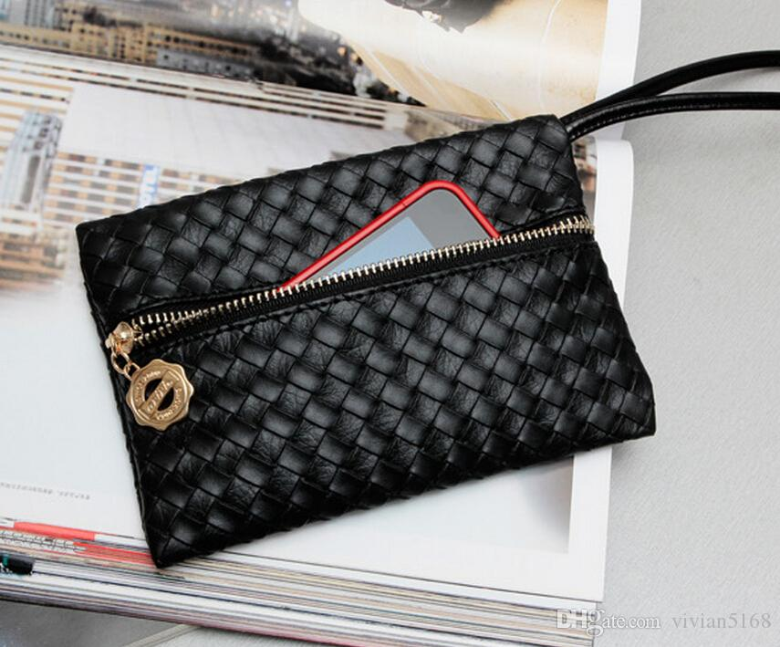 Fashion Zipper Pu Leather Coin Purse Women Wallet Daily Storage Change Purse Ladies Handbag phone bag for iphone 6 Plus 5s