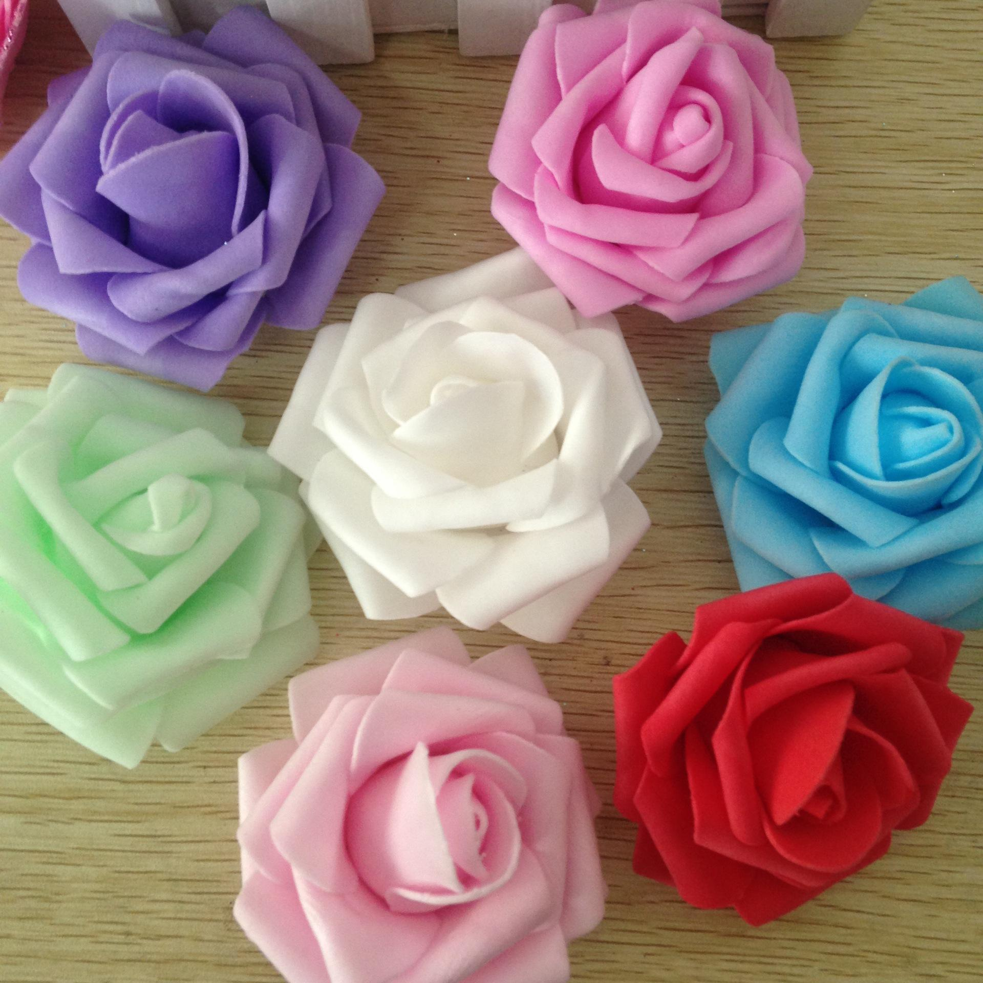Wholesale 7CM Wedding Handmade Foam Rose rosebud Artificial Rose Flower Home Wedding Room Decoration 10colors (100pcs/Bag)
