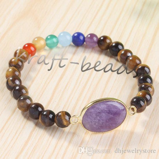 Wholesale Gold Plated Natural Amethyst Quartz Crystal Connect Different Stone Chakra Healing Point Stone Beaded Bracelets Jewelry 6mm