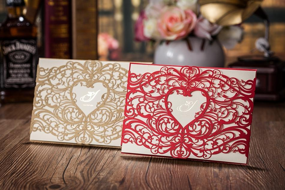 Chic Golden Laser Cut Heart Shape Free Customized Printing Wedding