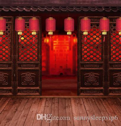 See larger image & Chinese Door Red Lanterns Backgrounds for Photo Studio Props 5X7ft ...