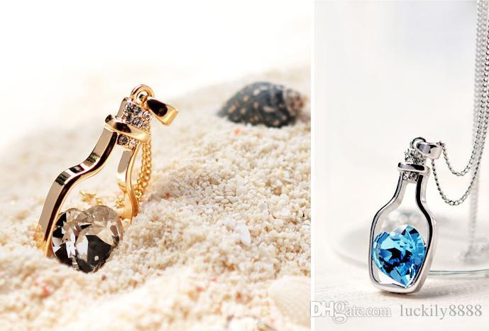 Crystal Necklace Wishing Bottle necklace girl brief paragraph Drift Bottles pendant necklace Best Valentine's day Gifts