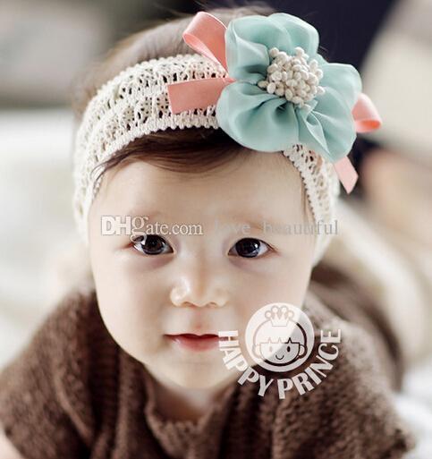 Hübsches babyhaarschmuck Für Säuglingsbabyspitze Große Blume Bogen Prinzessin Babys Mädchen Haarband Stirnband Baby Kopf Band Kinder 10 stücke