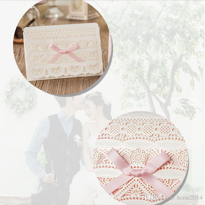 Laser Cut Flower Bowtie Style Invitation Card Lovely Customized Pink Color Wedding Invitations Free Printing Including Envelops