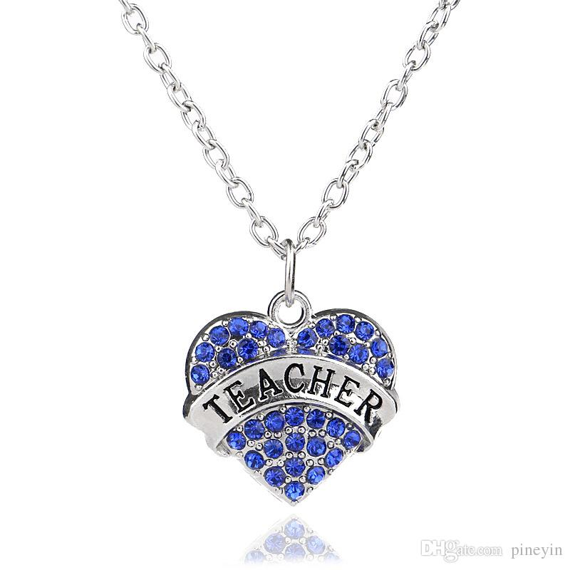 Mix color Women Lady Clear Blue Pink Crystal Heart Lettering Words Engraved Teacher Pendant Necklace Jewelry Christmas Gifts For Teacher