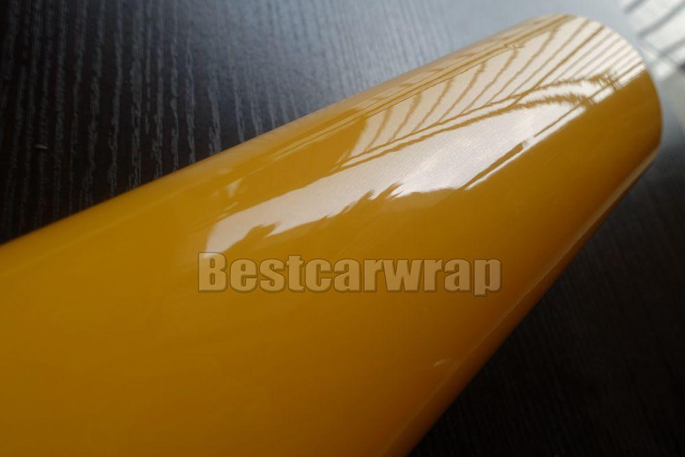 Ultra Parlak Parlak Sarı Vinil şal 3 Katmanlar Parlak Tiffany Araba Wrap Filmi ile hava ücretsiz 3m 1080 gibi Boyutu: 1.52 * 20M / Rulo