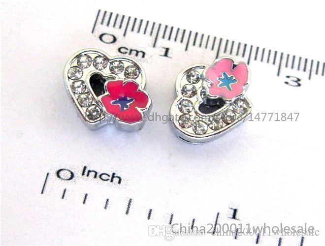 8mm Cuore con rose Charms diapositive Fit to 8mm Pet Collars Braccialetti e portachiavi