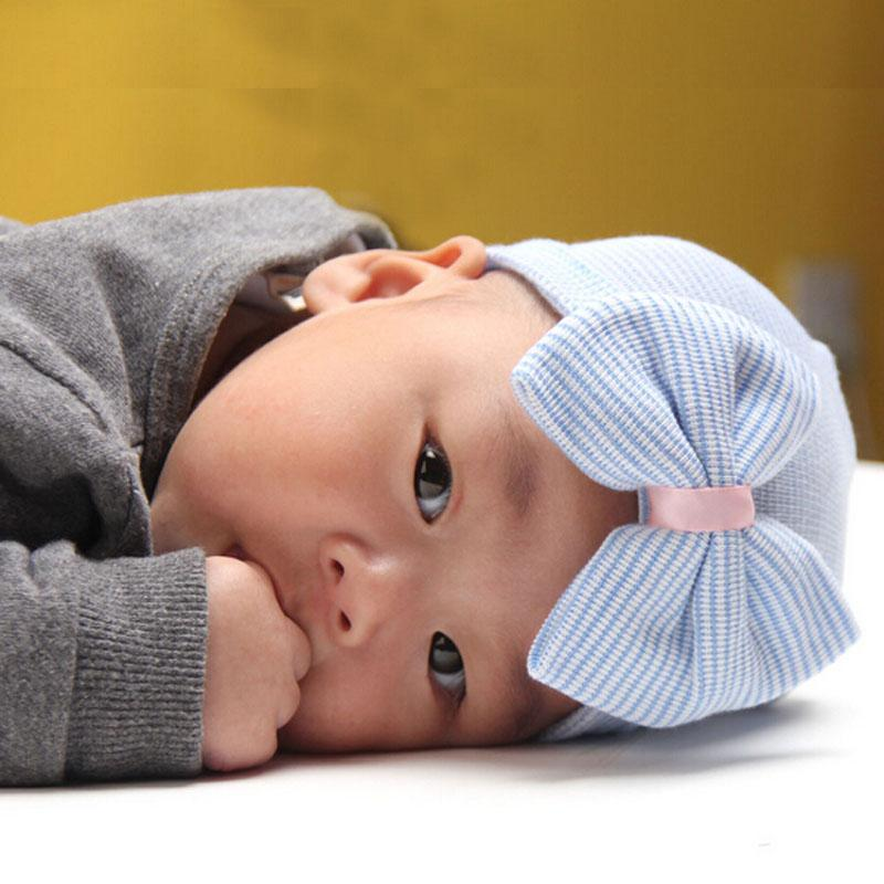 Newborn Hospital Hat Wholesale Blanks Beanie with Bow Infant Hat Baby Shower Gift Via FedEx DOM106233