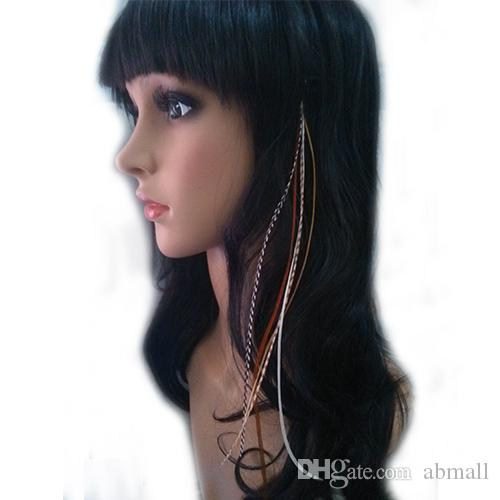 clip in feather hair extension grizzly rooster feather hair extension Bohemia hair accessories free shipment