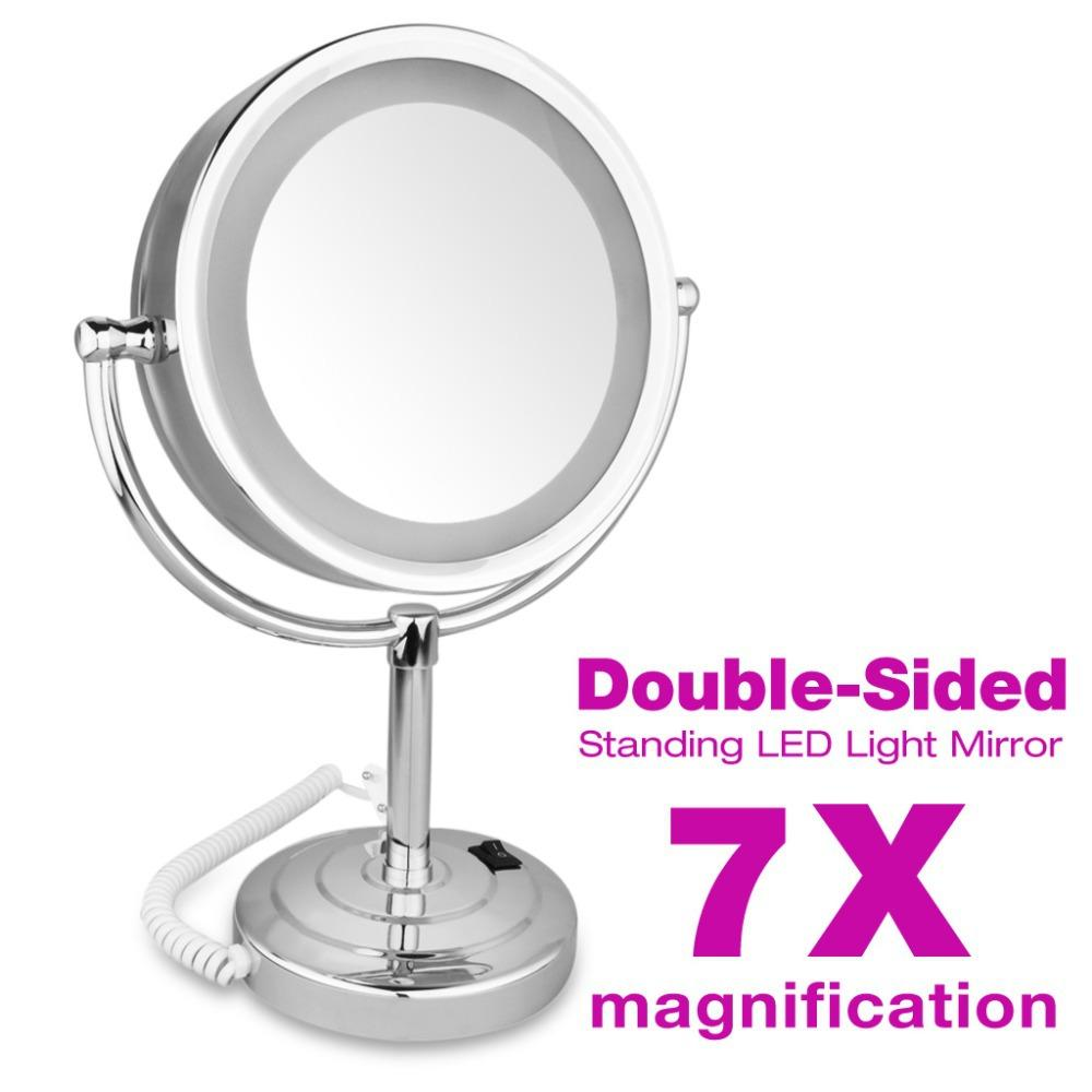 stand up vanity mirror with lights. 2015 High Quality Makeup Mirror Stand LED Double Side 8 5inch 7x  Magnification For Make Up Cosmetic Bathroom Led