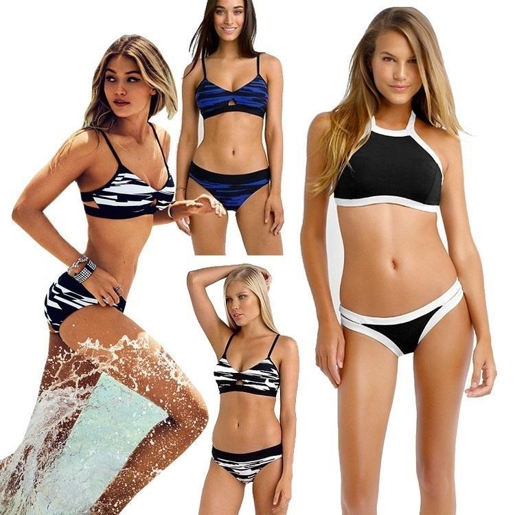 2f10443866 PrettyBaby Brand 2016 Halter High Neck Bikini Set Push Up Swimwear ...
