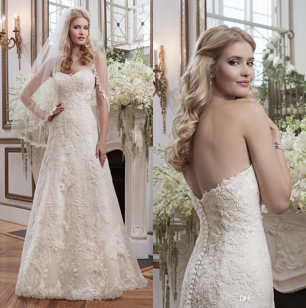 Christmas wedding dress zipper - Discount 2016 Justin Alexander A Line Wedding Dresses Vintage Sweetheart Lace Bridal Gowns Buttons Back Sweep Train Plus Size Wedding Gowns Chiffon Wedding