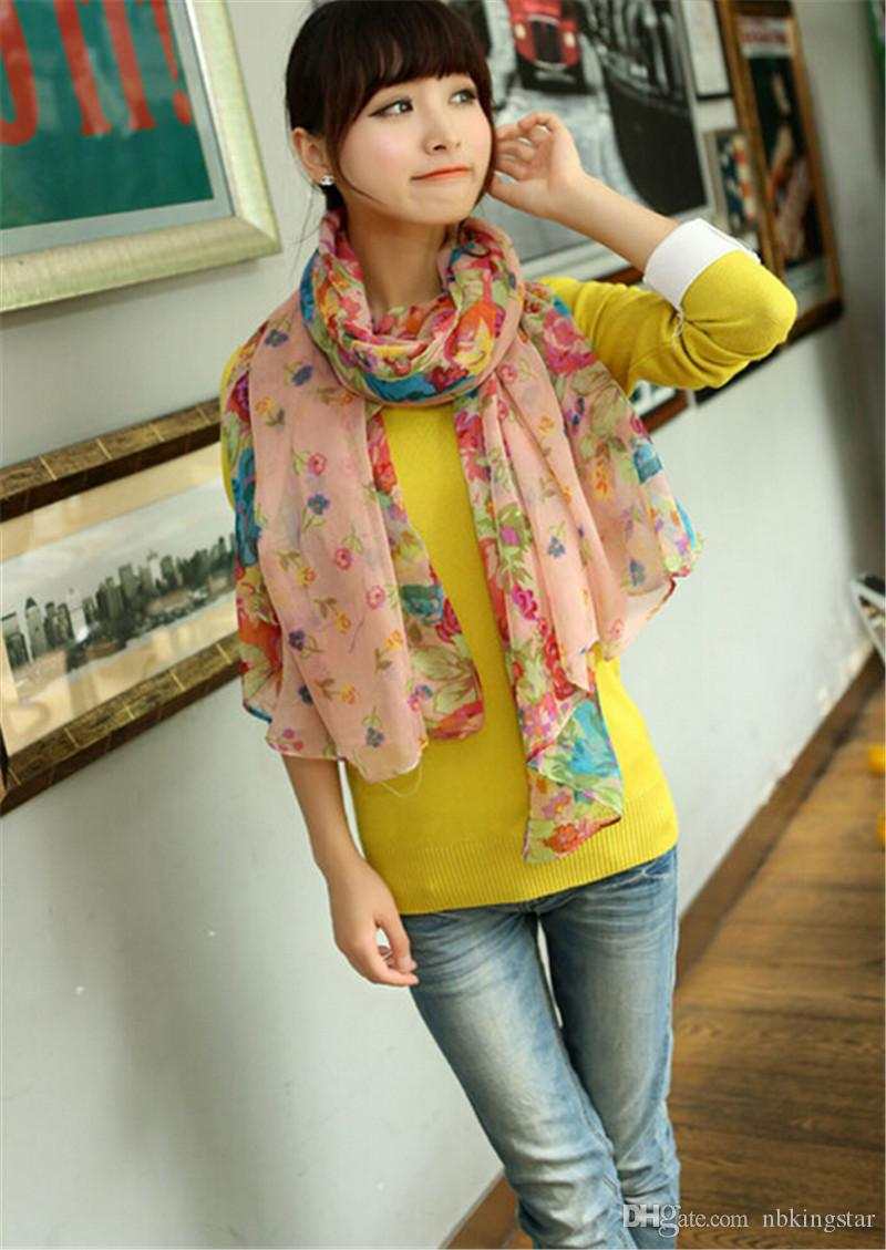 Fashion Spring And Autumn Oversized Long Scarf Shawl Women's Floral Scarves Shawl Voile Scarf 160*50cm