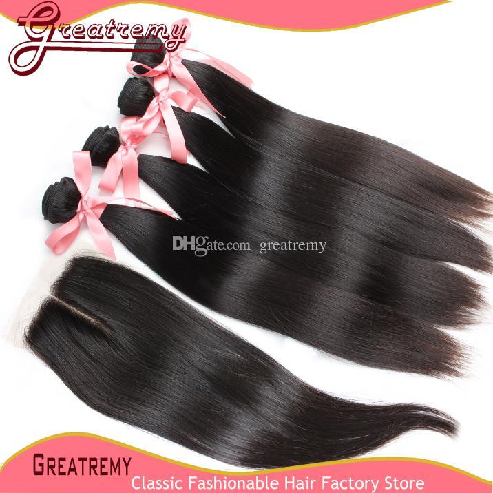 Greaturemy pacotes de cabelo humano com fecho de renda em linha reta 100% Human Hairweft Weave Virgin Haircloure 4x4 Middle Part