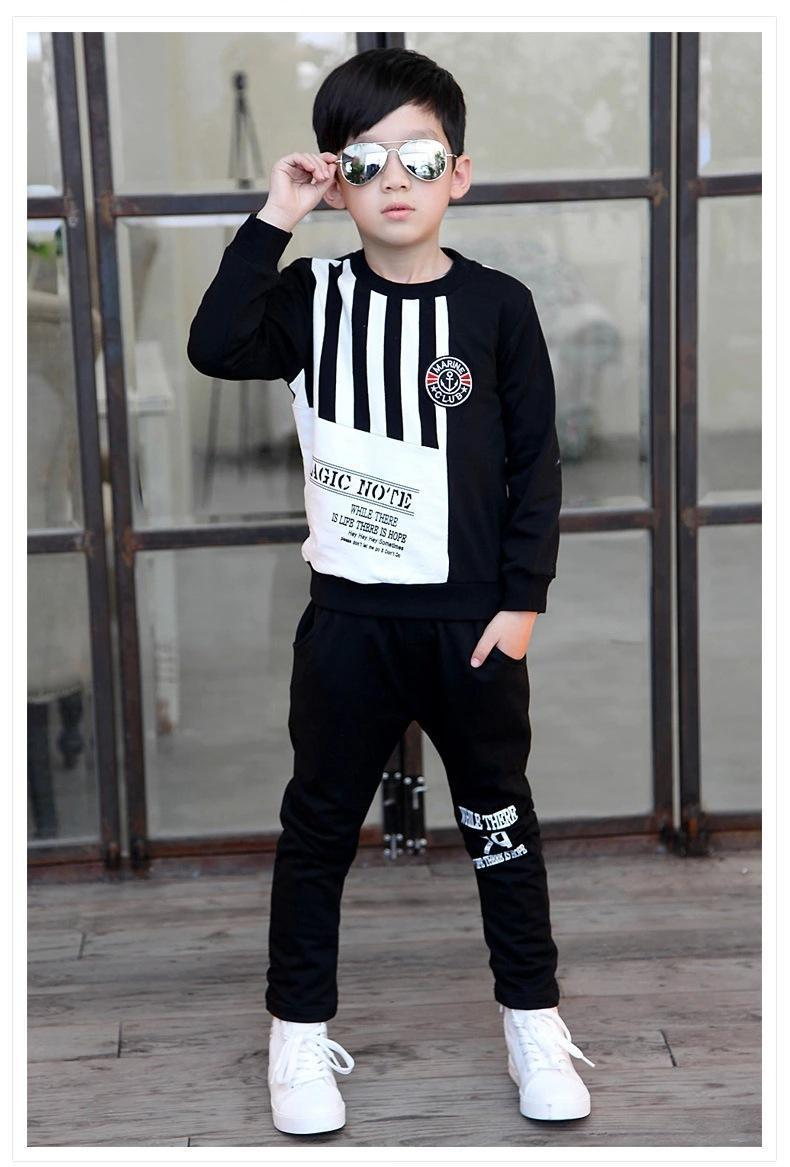2018 2015 Kids Clothing Sets Korean Style Handsome Letter Printing Children Suit Sweatshirt And