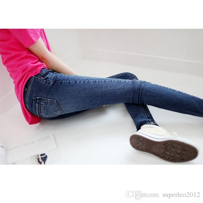 Las nuevas mujeres de la manera pantalones vaqueros negros azules largos ocasionales de los pantalones vaqueros delgados pantalones del lápiz los pantalones vaqueros elásticos