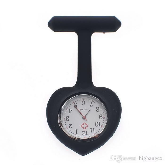 Candy Heart Shape Nurse Doctor Horloge Siliconen Rubber Hang Horloges Dames Pocket FOB Clip Verpleegkundigen Medische Klok