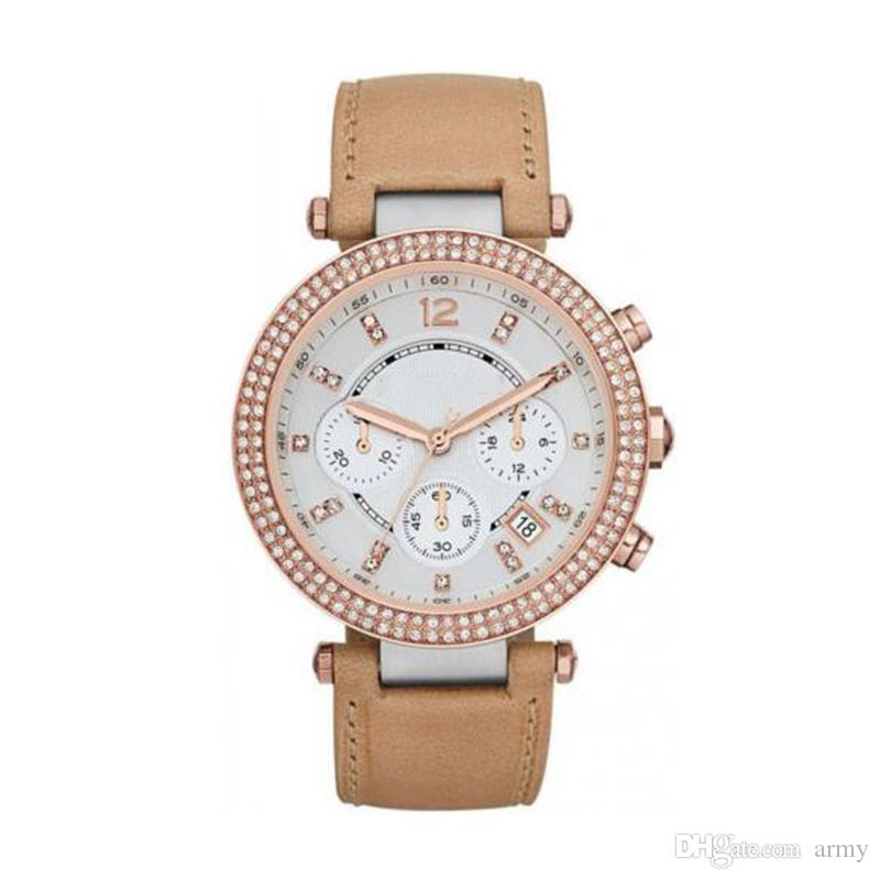 Rose Gold and Leather Glitz Chronograph Watch 5633