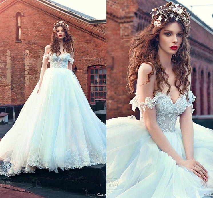 Light Blue Fairy Off Shoulder Lace Wedding Dresses Sexy