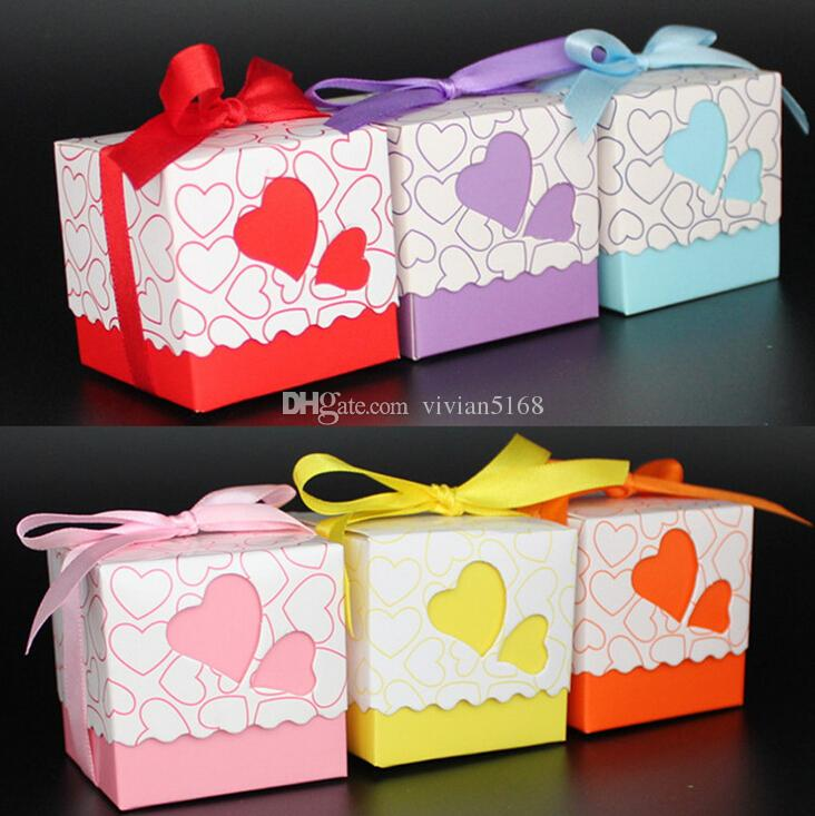 사랑 선물 상자 DIY 호의 홀더 크리 에이 티브 스타일 다각형 웨딩 부탁 상자 캔디와 과자 리본 6 색 선택 선물 상자