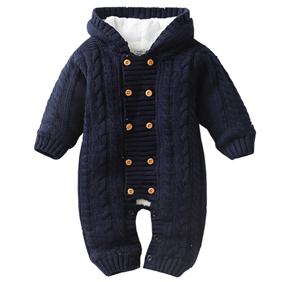 c66ef39cf 2019 Thick Warm Infant Baby Rompers Winter Clothes Newborn Baby Boy ...