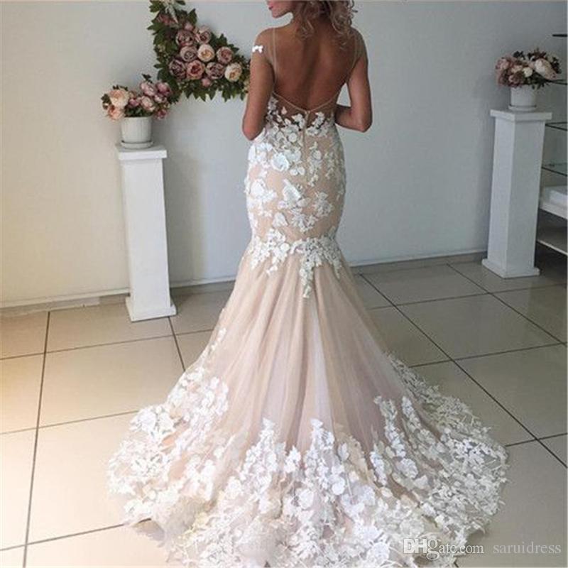 Elfenbein-Spitze Appliques Champagne Mermaid Brautkleider Open Back 3D Blumen Sexy Brautkleider der neuen Ankunfts-Nixe Kleid