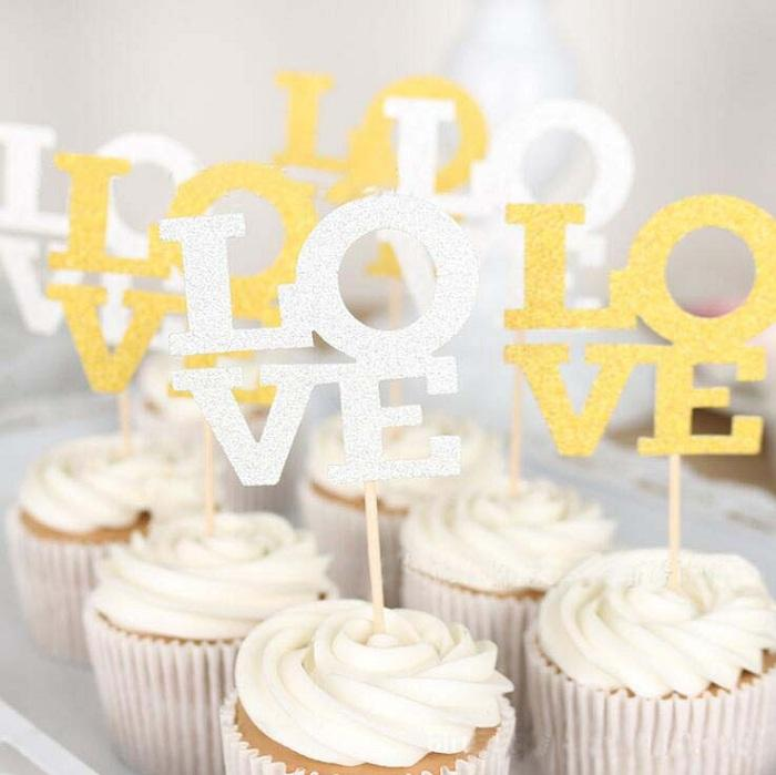 cake toppers gliter golden slivery love letter cards banner for fruit Cupcake Wrapper Baking Cup birthday tea party wedding decoration