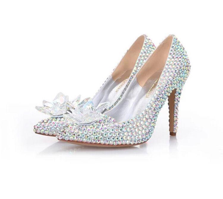 Cinderella Crystal Shoes High Heeled Women Stunning Glasses Slipper Bling Silver Rhinestone Bridal Wedding Shoes Prom Pumps
