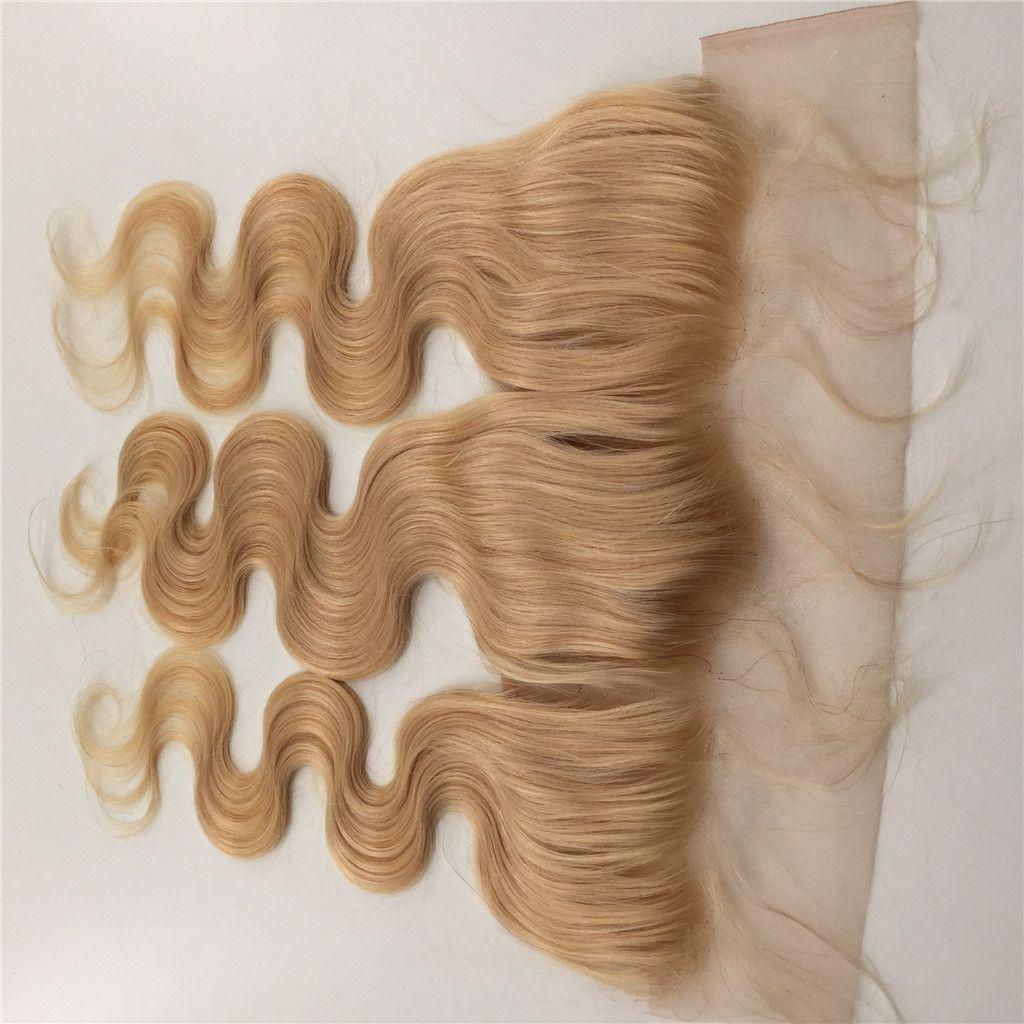 Перуанские кружева фронтальные закрытия волна тела 13x4 свободный средний 3 Часть полный фронтальный закрытие кружева #613 100% необработанные девственные человеческие волосы G-легко
