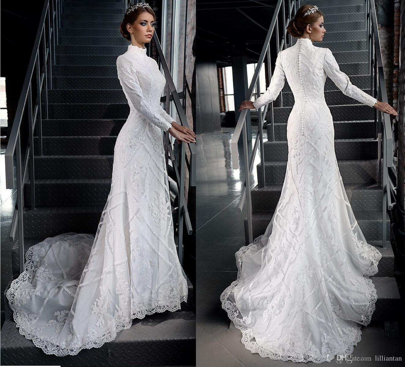 Discount Vintage Modest Lace Wedding Dresses Long Sleeve