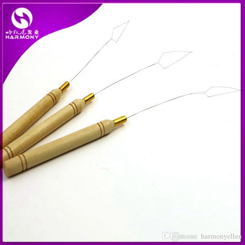/bag Wooden Handle Micro Rings Hook Loop Tool Loop Threader Pulling Needle For Nano Ring Hair Extensions