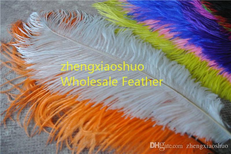 Оптовая продажа 100 шт. / лот 12-14 дюймов страусиное перо шлейф белый, розовый, желтый фиолетовый красный Слоновой Кости золото королевский синий черный бирюзовый оранжевый зеленый