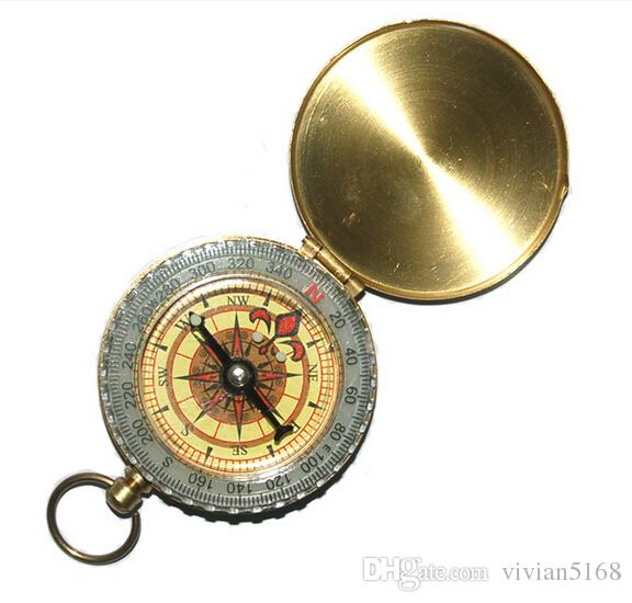 Luminous Brass Pocket Compass Watch Vintage Antique Style Ring KeyChain Camping Hiking Compass Navigation Outdoor Tool