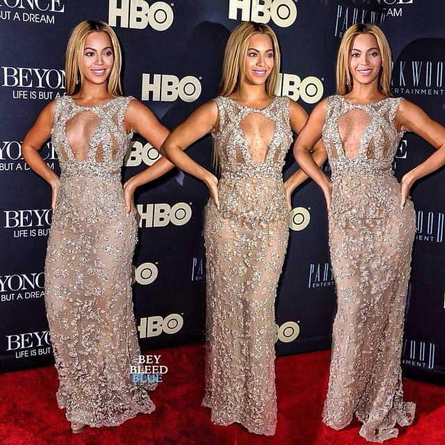 Beyonce Champagne Beads Celebrity Red Carpet Dresses 2015 Trak Ediz