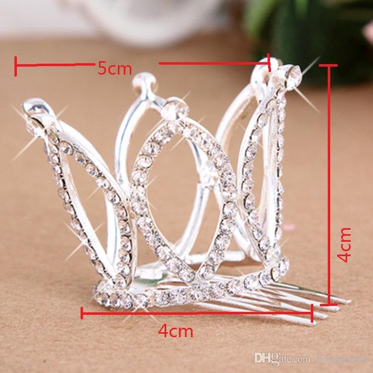 2017 Mini Girls Rhinestone Crown Bridal Tiara Hair Comb Pin For Wedding Party