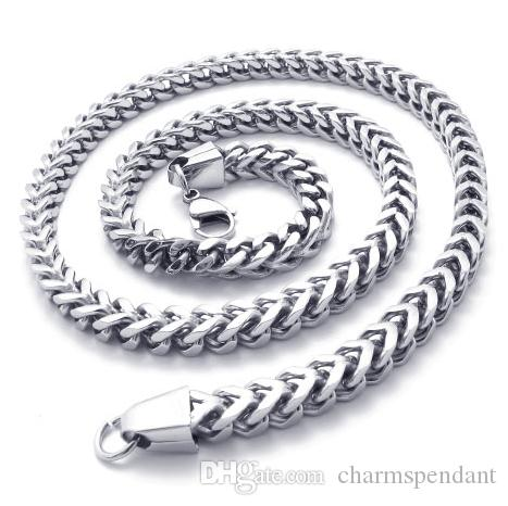 Middle Eastern Style 316L Stainless steel strong box figaro Chain Link Necklace in Men Thanksgiving Day Jewelry For Husband Gifts 6mm 24''