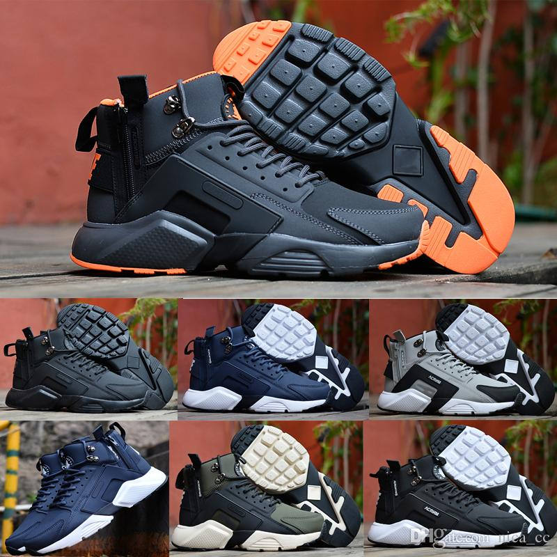 94dc9dcc6c81c 2017 Latest Huarache 6 X Acronym City Mid Leather Runing Shoes For Men  Black White Blue Outdoor Man Huraches Sports Sneakers Free Shoes Discount  Running ...